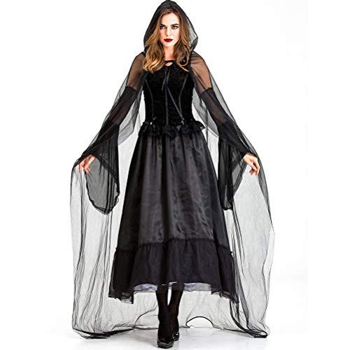 Babitotto - Capa negra con capucha, disfraz de bruja para Halloween, cosplay, disfraz de vampiro, capa de capa para Halloween, fiesta de Halloween, fiesta de noche