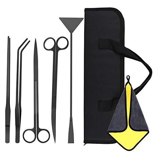 VavoPaw [5 PZS Herramientas de Acuarios de Acero Inoxidable, Kits para Acuarios con 2 Tijeras 2 Pinzas Espátula Bolsa de Almacenamiento y Toalla Absorbente para Planta Acuática - Negro