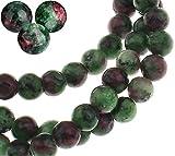 Piedras preciosas de rubí en zoisit, rubí en zoisite, bola de 10/8/6/4 mm, piedra semipreciosa, perla de piedras preciosas con agujero para enhebrar, perlas de joyas (10 mm, 12 unidades)