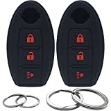 2Pcs Silicone 3 Buttons Key Fob Cover Remote Case Keyless Protector Compatible with Nissan Armada Frontier Pathfinder Juke Leaf Murano Quest Rogue Sentra Titan Versa Xterra Cube X-Trail KBRASTU15