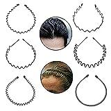 6 Stück Metall Haarband schwarze, Damen Herren Haarreifen, Elastisches Stirnband, Spring Wave Sporthaarbänder herren zum Sport Kinder Mädchen Jungen Haarschmuck Kopfbänder