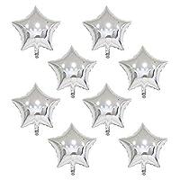 風船 バルーン スター 星型 アルミバルーン 8個 セット  約40cm (バルーン8個セット, シルバー)