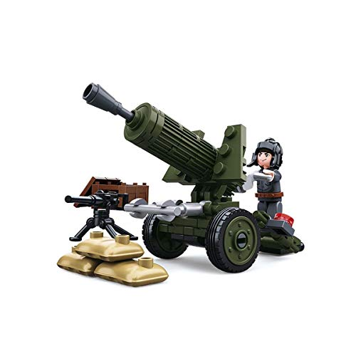 Sluban SL07122, WWII – Mini kit de Construction Flak (88 pièces) [M38-B0678A], Jeu de Briques de Construction, Soldats avec Figurine de Jeu, Army WII, 4 Ans, Multicolore