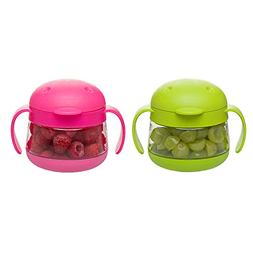 Ubbi Tweat No Spill 2 Pack Snack Container for Kids, BPA-Free, Toddler Snack Catcher, Green/Pink