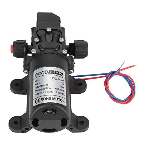 KSTE Hochdruck Wasserpumpe, Membranpumpe 12v, DC 12V 0.9Mpa 6L / Min Wasserhochdruck-Membran 70W Selbst Priming Pump