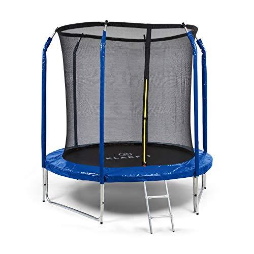 KLAR FIT Klarfit Jumpstarter - Tappeto Elastico da Giardino, Diametro: 2,5 m, Rete di Sicurezza Interna, Scaletta in Acciaio Zincato, 3 Gambe a Due Poli, Peso Massimo: 120 kg, Blu Scuro