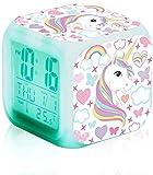 Despertador Digital Unicornio Infantil Niña,Relojes de Alarma Silenciosos Digitales LED de Noche que Brilla Intensamente Reloj LCD con Luz Despertar Reloj de Cabecera para Dormitorio Regalos