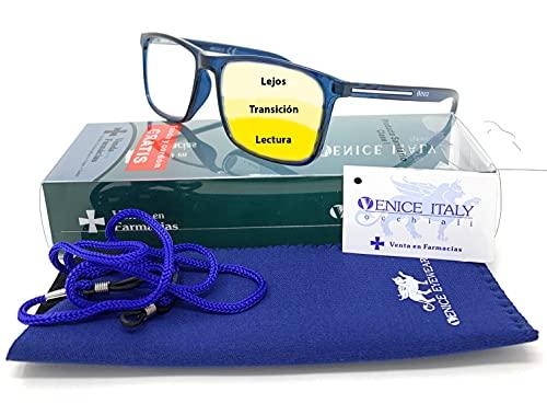 Gafas de lectura multifocales progresivas, presbicia, vista cansada, Progresivo. Diseño en 5 Colores. VENICE MULTIFOCUS - Dioptrías: 1 a 3,5 (Azul, +1,50)