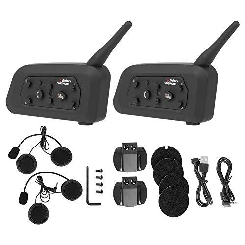 Interfono Bluetooth, 2pcs vnetphone V6-1200 Moto casco senza fili Bluetooth citofono mani cuffia Interphone Cuffie interfoniche Auricolare interfono per 6 persone