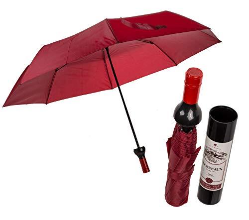 Out of the blue Regenschirm/Taschenregenschirm - im Weinflaschen Design - Schirmfarbe dunkelrot, Ø 95 cm