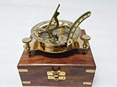 "3"" inches solid brass sundial compass, fully functional compass. Fully functional compass correct show the north,Sundial is also working fully working sundial compass comes along with the rosewood box. compass size-3""/3""/1.5"" Box size-4""/4""/2"""