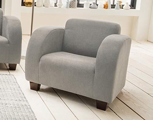 lifestyle4living Sessel in grauem Stoff bezogen, Lounge-Sessel mit wengefarbenen Holzfüßen