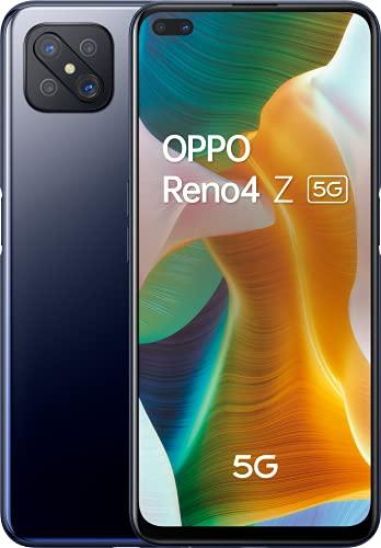 """OPPO Reno4 Z Smartphone 5G, 184g, Display 6.57"""" FHD+ LCD, 4 Fotocamere 48MP, RAM 8GB + ROM 128GB non Espandibile, Batteria 4000mAh, Ricarica Rapida, Dual Sim, [Versione Italiana], Ink Black"""