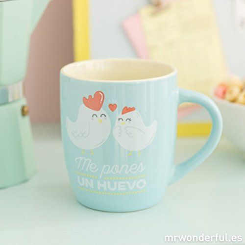 Mr. Wonderful WOA08756ES Taza Me pones un Huevo, Color Mint, Compuesto, Multicolor, 14x15x8 cm