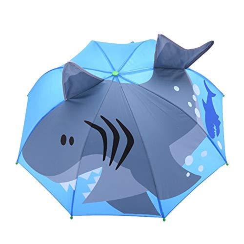 FeiliandaJJ Kinder Regenschirm Junge Mädchen Stockschirm Cartoon 3D Tier Anti UV Windsicher Sturmfest Automatik Kinderregenschirm,Länge 60cm (Hai(B))
