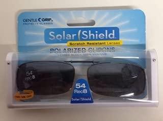 SOLAR SHIELD Clip-on Polarized Sunglasses Size 54 Rec 8 Black Full Frame NEW