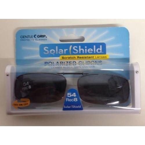 ec426a19ad SOLAR SHIELD Clip-on Polarized Sunglasses Size 54 Rec 8 Black Full Frame NEW