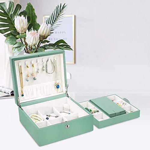 Jewelry Box for Women, Jewelry Box Organizer, Caja de joyería de viaje de cuero Regalo de almacenamiento de caja de almacenamiento para mujeres con caja de bandejas (menta verde) Trinket de tesoro mul