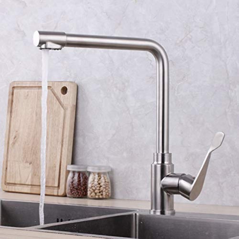 FZHLR 3 In 1 Wasser Trinken Küchenarmatur 2 Wasserlcher 304 Edelstahl Kalt- Und Warm Brushed Einzel Halter Single Hole