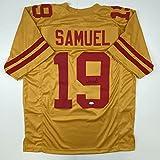 Autographed/Signed Deebo Samuel San Francisco Gold Football Jersey JSA COA