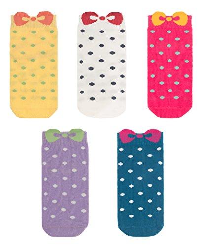 Maiwa Calcetines sin costura de arco de algodón de la novedad Paquete de 5 para las muchachas (niños grandes 30-33 EU/18cm-20cm)