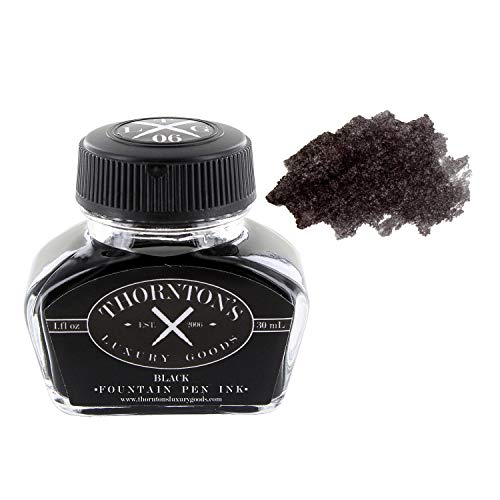 Thornton's Luxury Goods Premium Fountain Pen Ink Bottle 30ml - Black | Smooth...