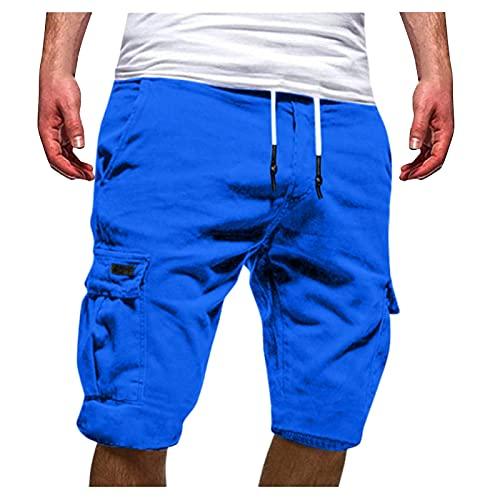 Pantalones de deporte para hombre, ligeros y suaves, estilo hip-hop, cómodos, holgados, informales, para verano, con cordón, ideal como regalo para familia y amigos, azul, XXXL