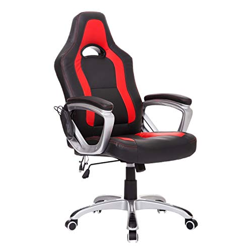 HomCom Race Car Style PU Leather Heated Massaging Office Chair - Red