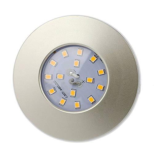 LED Einbaustrahler rund silber 5W warmweiß flach 230V – Einbauleuchte IP44 auch für Bad, Außenbereich – Bohrloch Ø60mm Badezimmer Decken-Spot Badeinbaustrahler