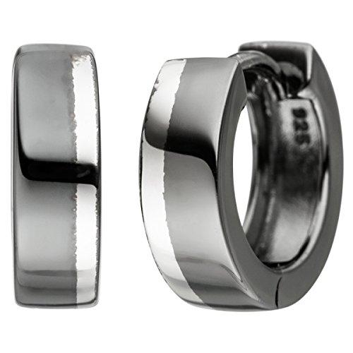 JOBO Creolen 925 Sterling Silber schwarz bicolor Ohrringe