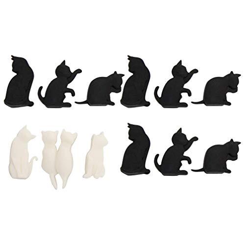 Valcilud - 12 pezzi in silicone per bicchieri da vino, ciondoli a forma di gatto, per gli amanti del vino di festa, colori assortiti