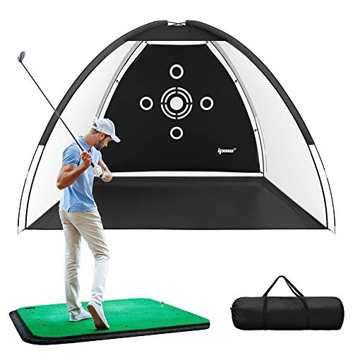 IPOW Golf Practice Net, 10x6.5ft Golf Hitting Training Aids Nets with Target and Carry Bag for Backyard Driving Chipping - Men Kids Indoor Outdoor Sports Game