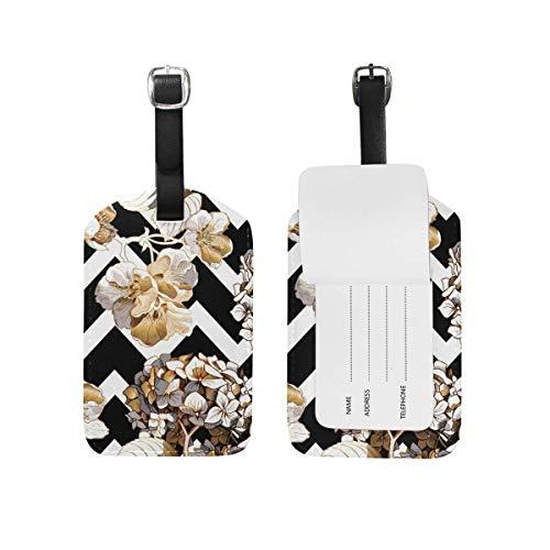 Gold Hortensie Kirsche Blumen auf schwarz-weiß Geometrie Leder Reisegepäckanhänger Inhaber Pu Tasche Koffer Label mit Gurt Kabel Name Id Card