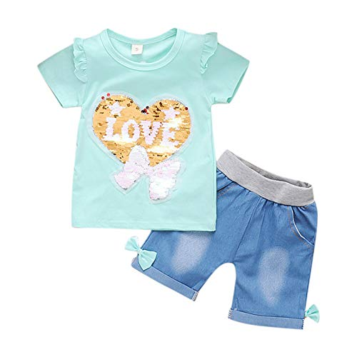 Briskorry Conjunto de ropa de bebé, ropa de verano, manga corta, amor, lentejuelas, camiseta y pantalones cortos, conjunto de ropa de verano, 2 piezas, ropa informal, de 0 a 4 años