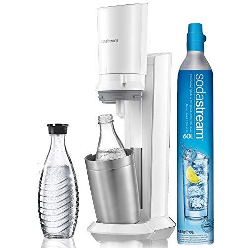 Sodastream Pack Spécial Machine Crystal en Alu Brossé Gris & Noir + 2 Carafes en Verre de 0.6L