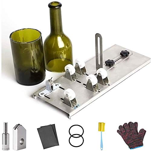 IWILCS Cortador de cristal para botellas, cortador de botellas, cortador de botellas de acero inoxidable, cortador de botellas de cristal, herramienta DIY para cortar botellas redondas y cuello