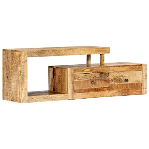 Festnight- TV-Schrank mit 2 Schubladen und 1 Fach Fernsehtisch Lowboard TV Board Fernsehschrank 120 x 30 x 40 cm Massivholz Mango