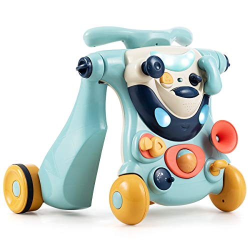 BABY JOY Sit to Stand Walker, 3 in 1 Baby Walker, Ride on Toy Car, Kids Activity Center w/Lights& Music, Stable Triangular Construction, Non-Slip Wheels, Ideal Gift for Babies Over 6 Months (Blue)