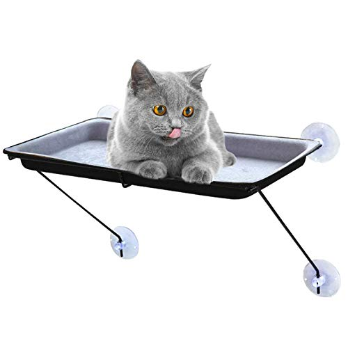 SLE Hamaca para Gato, Cama para Gatos con 4 Ventosas Grandes, Asiento de Ventana para Gato Hamaca para Cualquier Gato (62 * 32 * 5cm) (Gris)