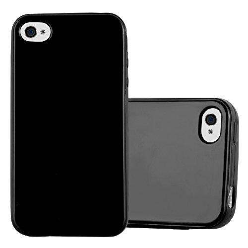Cadorabo Hülle für Apple iPhone 4 / iPhone 4S - Hülle in Jelly SCHWARZ – Handyhülle aus TPU Silikon im Jelly Design - Silikonhülle Schutzhülle Ultra Slim Soft Back Cover Case Bumper