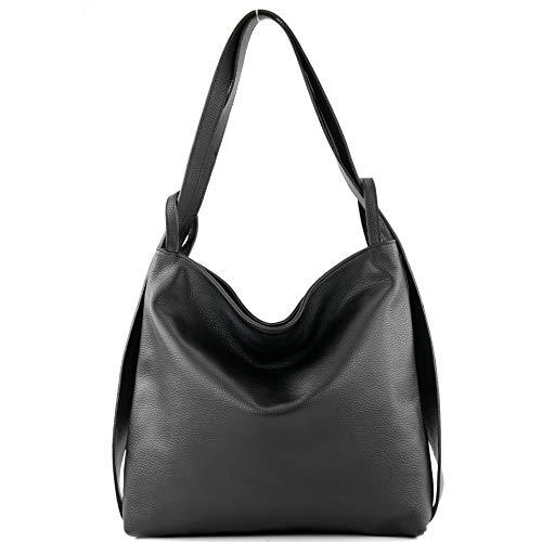 modamoda de - T192 - ital. Damen Rucksacktasche 2in1 aus Leder, Farbe:Schwarz
