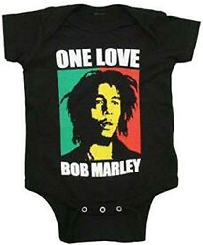 Zion Rootswear Offizielles Bob Marley–One Love–Strampler Strampler Anzug in schwarz Gr. L (12-18 Monates), Schwarz
