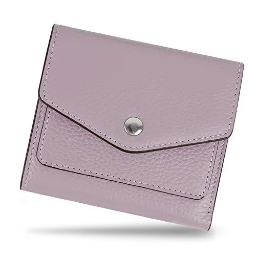 Cartera RFID de Mujer Cuero Genuino, YALUXE Monedero Pequeño Piel con Bolsillo Frontal para Tarjeta Bloqueo Violeta