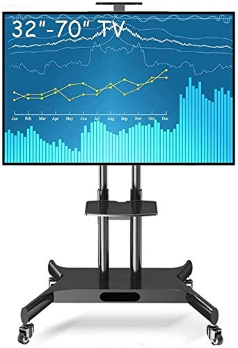 LILIS Table Top TV Stand Rolling TV Cart With Swival Screen, Tall Adjustable Height Steel TV Stand For For Plasma/LCD/LED OLED TVs,Fit 32'- 70' TV