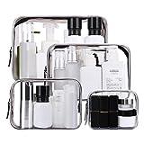 Sunwuun 4 Stück Kosmetiktasche, Transparent Kosmetikbeutel, Make-up Tasche Kosmetikbeutel Durchsichtig Reise Set Kulturtasche für Männer, Frauen, Kinder, Familie