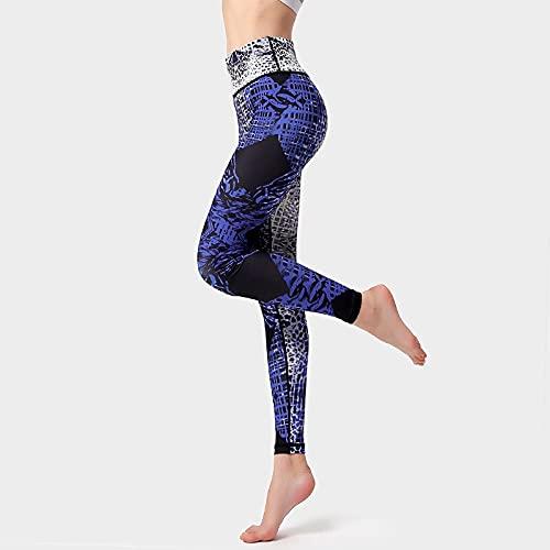 QTJY Pantalones de Yoga con Estampado de Leopardo de Moda para Mujer, Pantalones de Yoga elásticos de Cintura Alta, Pantalones Ajustados para Correr al Aire Libre C XL