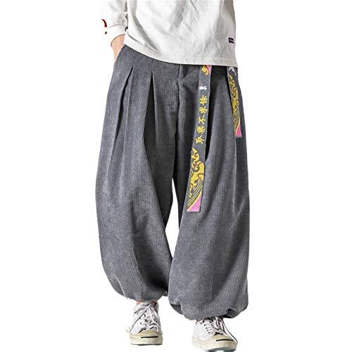 USTZFTBCL Sztruks szerokie spodnie męskie spodnie dresowe japońskie streetwear męskie spodnie na co dzień męskie spodnie spodnie męskie, Szary, XXL