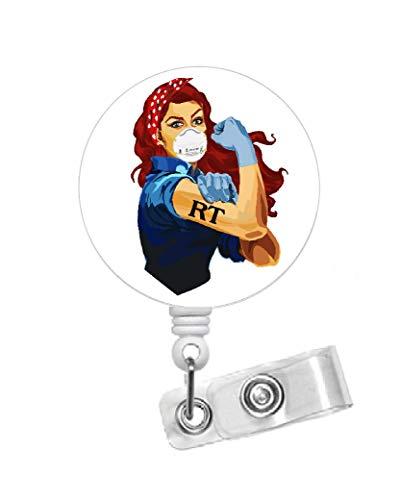 Rosie The Riveter RT Red Hair 1.5 - Respiratory Therapist Badge Holder - RT Badge Reel - Name Badge - Medical Badge - Cute Id Badge Reel (Belt Slide Clip) (Alligator Swivel Clip)