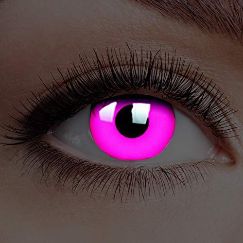 Farbige Kontaktlinsen Leuchtend ohne Stärke Rand Glow Pink Puppenaugen Rosa Motiv-Linsen Halloween Karneval Fasching Cosplay Anime Manga Pinke Augen Eye Devil Einhorn Dämon UV