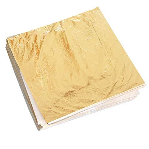 TOYANDONA 100 hojas de oro imitación de papel de lámina de metal para pintura dorada, marco de pared, muebles de techo, decoración